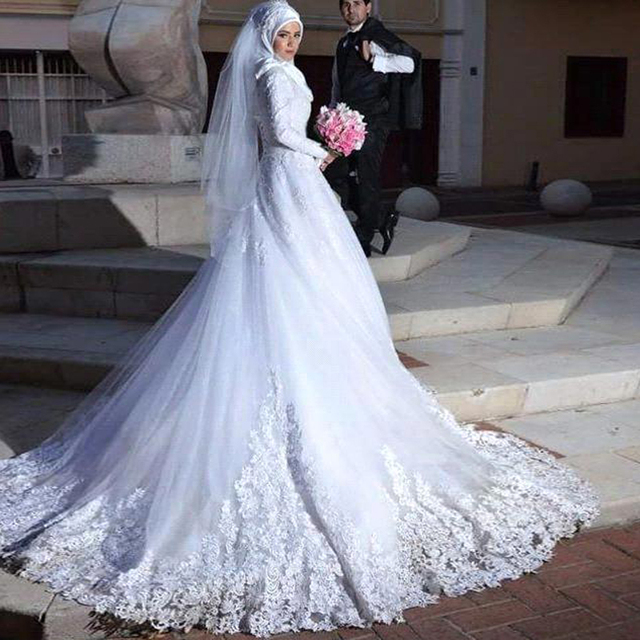 arabic muslim wedding dresses 2017 appliques long sleeve ball gown