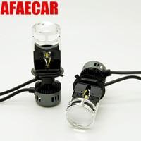 AFAECAR 2 pcs H4 LED hi lo headlights mini projector lens for cars clear beam pattern 6000k led h4