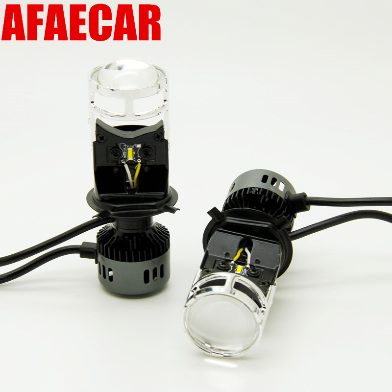 AFAECAR 2 pcs H4 LED hi lo headlights mini projector lens for cars clear beam pattern 6000k led h4 pearl beaded frill trim mesh blouse