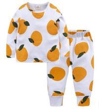 Купить с кэшбэком Children's Wear 2019 Autumn  Winter Fruit Printed Cotton Children outfits Baby Girl Pajamas Clothes Set Kids Underwear FZ9405