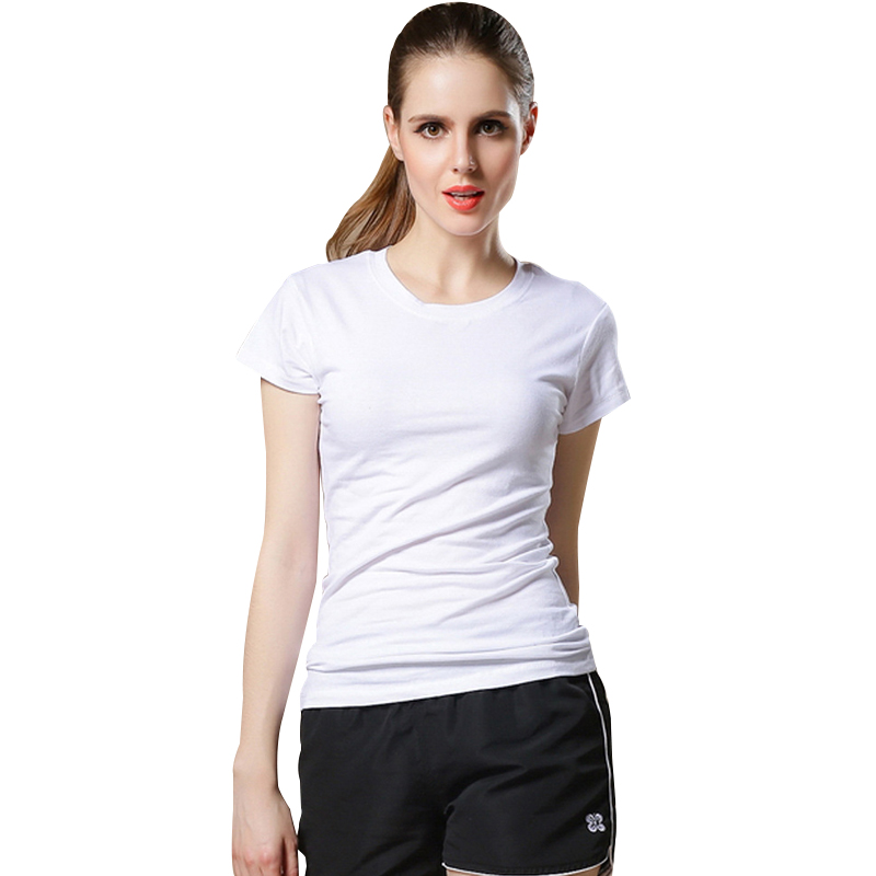 046598dae12 New High Quality Solid Color Simple T Shirt Women Solid color Tees Plain  Cotton short sleeve T-shirt Female Tops Black Tshirt