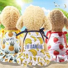Pet Clothes Cute Fruit Pattern Dog Skirts Dress Cotton T-shirts Lovers Suit Small Medium Cat Supplies