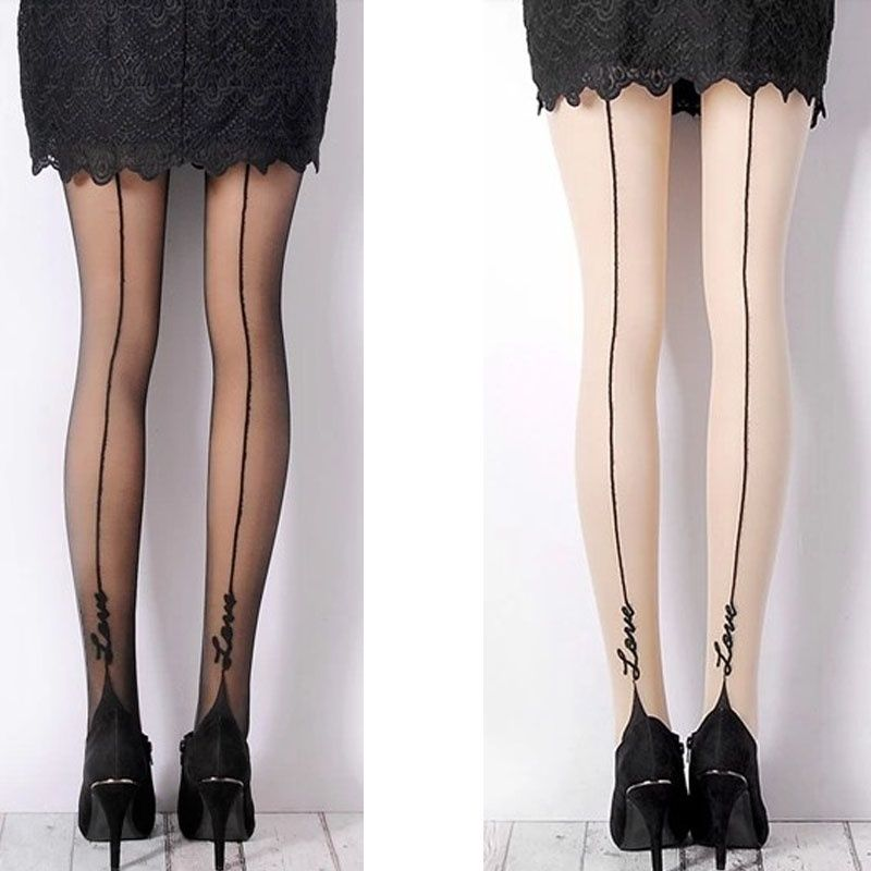 Tights thighs female ladies girls English love letter tattoo stockings pantyhose