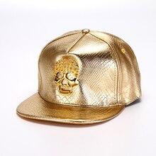 Хорошее Качество искусственная крокодиловая кожа 3D череп металлическое украшение ПУ кожа кепки с прямым козырьком и ремешком кепки в стиле хип-хоп