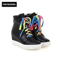 מגפי נשים קרסול עור Pu תחרה בוהן עגול עד צבע התאמה סתיו נעליים נשיות העקב מוסתר גבוה Kadin Ayakkabı שחור לבן בתוספת גודל