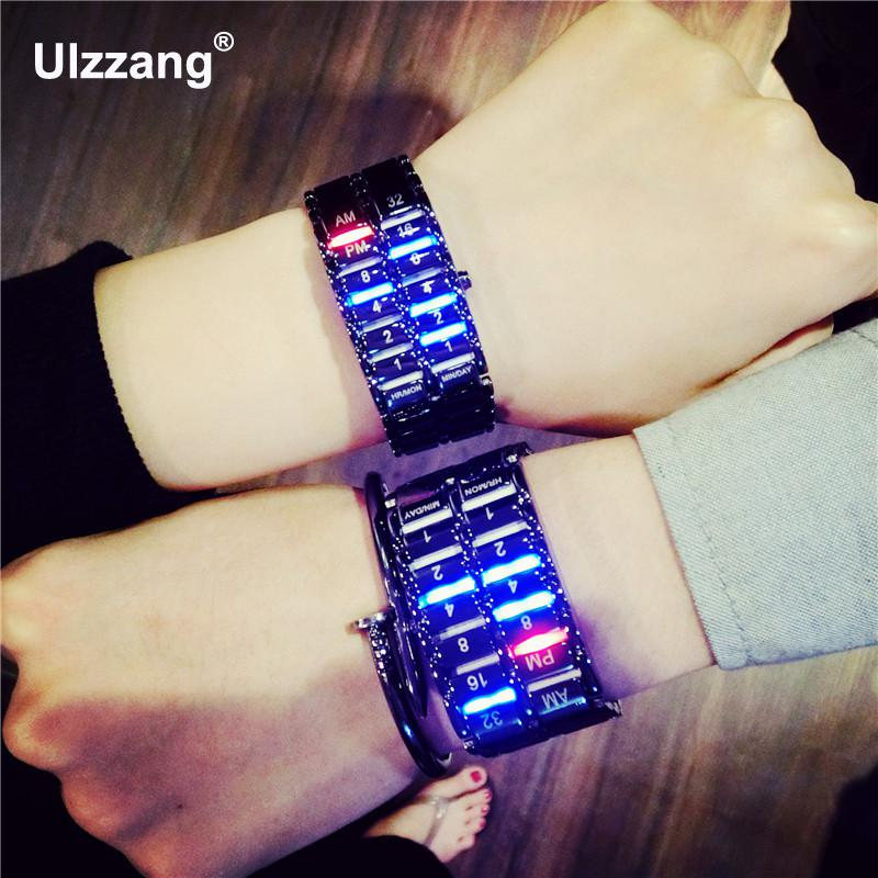 Hot Sale Full Stainless Steel Silver Black LED Bracelet Digital Wristwatches Wrist Watch for Men Male Women Girls 833 stylish 8 led blue light digit stainless steel bracelet wrist watch silver blue 1 x cr2016