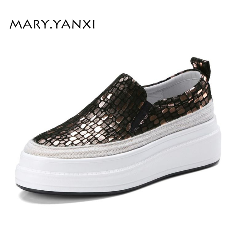 Spring/Autumn Women Lazy Shoes Genuine Leather Flats Loafers Flat Platform Casual Fashion Round Toe Slip-On Bling morazora spring autumn genuine leather flat shoes woman round toe platform fashion casual slip on women flats gold