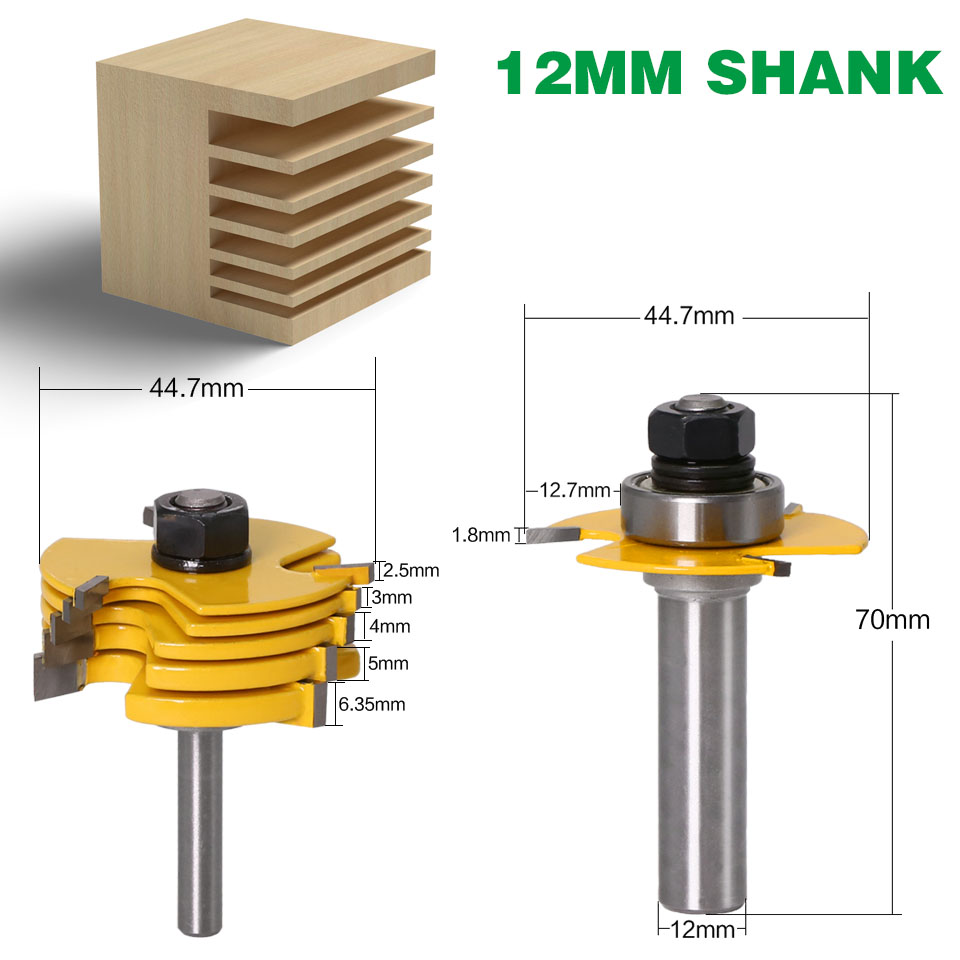 """Image 3 - 2Pc 6 Piece Slot Cutter 3 Wing Router Bit Set Woodworking Chisel Cutter Tool  8""""& 12"""" Shank Tenon Cutter for Woodworking Tool-in Milling Cutter from Tools"""