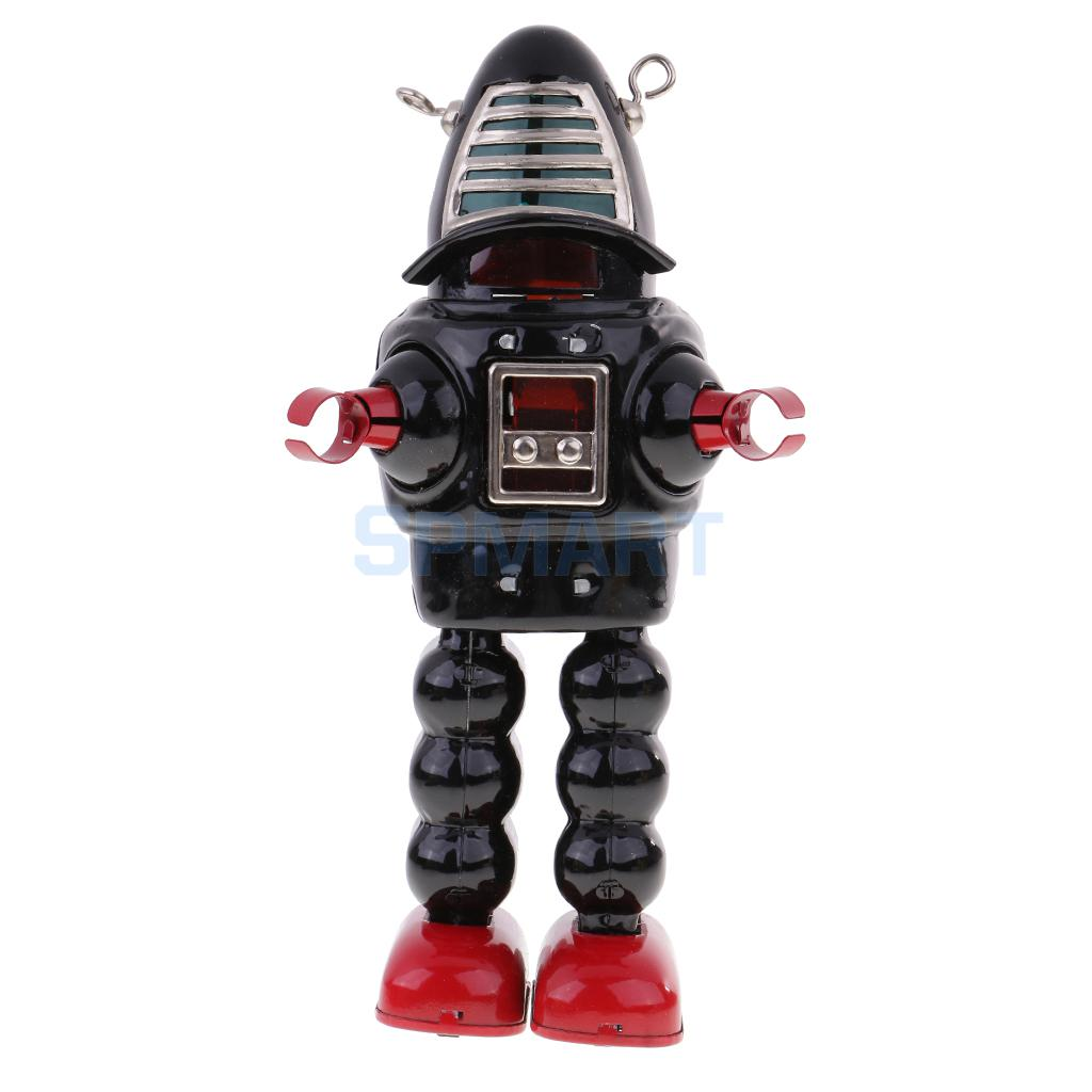 все цены на Vintage Wind Up Black Metal Walking Planet Robot Clockwork Mechanical Tin Toy for Kids/Adult Collectible Gifts