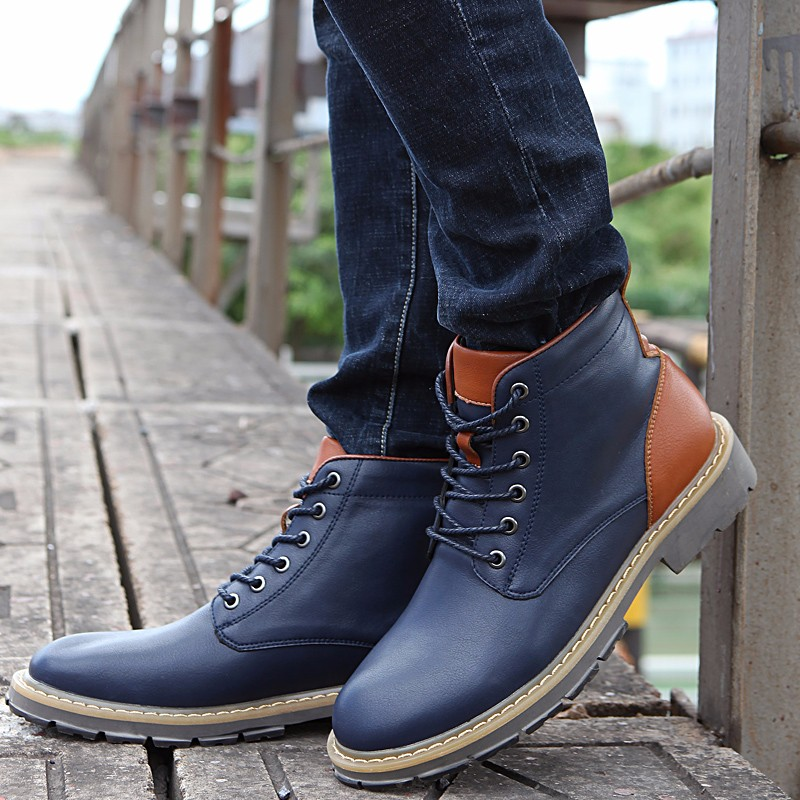 2016 Fashion Genuine Leather Boots Mens Shoes Casual Lace Up Flat Heel Motorcycle Boots Round Toe Men Ankle Boots Size 38-44 H72 (28)