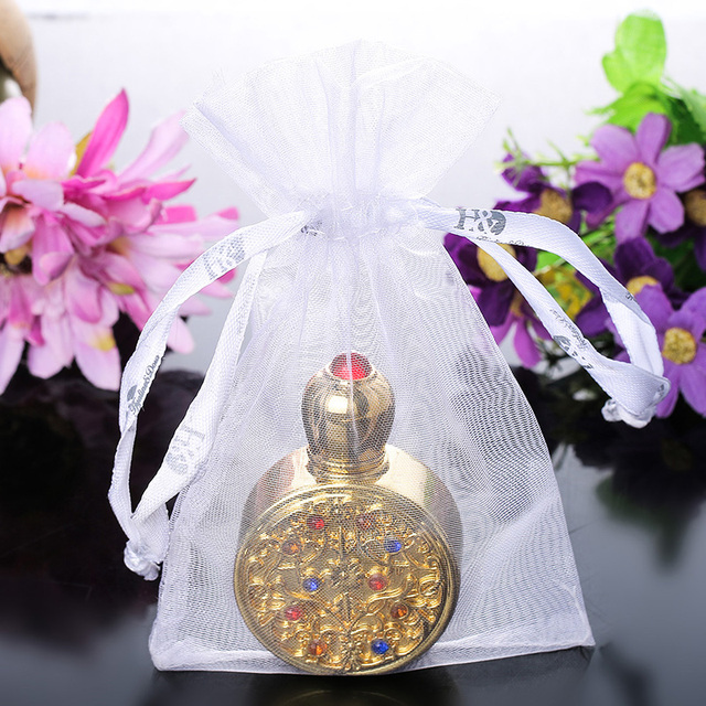3ml Round Gold Retro Metal and Glass Empty Women  Perfume Bottle Container Refillable Essential Oil Bottle Portable Lady Gift