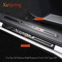 Para 2016 de 2017 de 2018 VW Tiguan MK2 Europa versión para placa de desgaste de coche embellecedor de alféizar de puerta Bienvenido Pedal coche accesorios