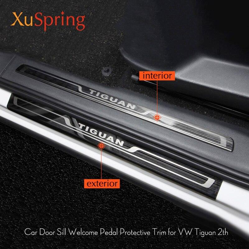 Para 2016 2017 2018 vw tiguan mk2 europa versão do carro placa de chinelo soleira da porta guarnição pedal bem vindo acessórios do carro