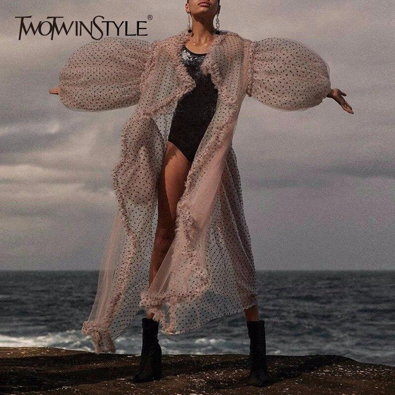TWOTWINSTYLE Plage Longue Robe Femme Dot Mesh Lanterne Manches Ruches Patchwork Grande Poche D'été Robes Femmes Mode Doux