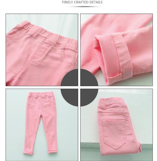 VEENIBEAR Spring Summer Girl Pants Candy Color Cotton Girl Leggings Children Kids Pants Slim Pencil Pants For Girl Age 3-9T 3