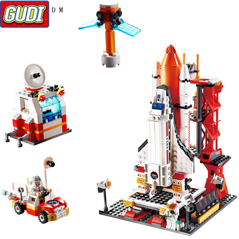 GUDI Aerospace Building Block seducation Bricks Space rocket Launch center Building Blocks compatible Legoings Toys For Children(China)