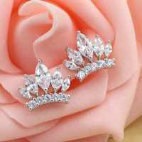 2017 jewelry exquisite 925 sterling silver crown zircon earrings modern beautiful stud earrings for female charm stud earrings