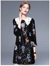 Black Paillette Wrist-length Sleeve Dress 2017 Autumn Women's Luxury Diamond Stage Clothing Dress