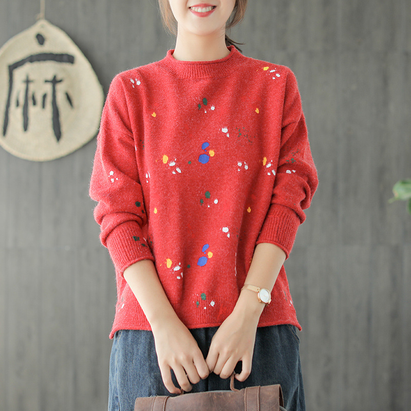 eef7ce04aaece9 2018 autumn winter mori girl Graffiti color point o-neck knitted ...