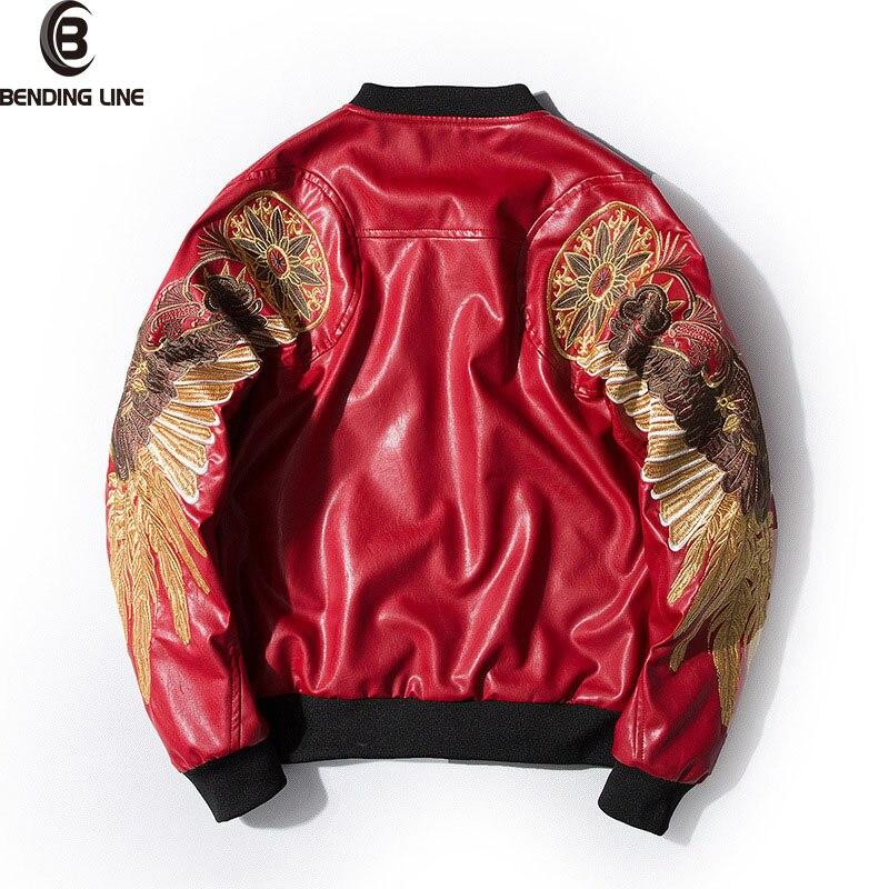 Idées novatrices veste en cuir broderie ailes d'or PU veste pour hommes MA-1 col montant mode Outwear hommes manteau Bomber veste Couple