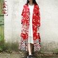 Otoño del estilo chino del diseño del dragón doble capa larga trinchera capa del algodón de lino rompevientos abrigo ocasional cáscara exterior de prendas de vestir