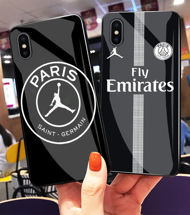 f05f6ac8e54 Fly PSG Paris Football Jersey Jordan Sport Print Toughened glass phone cover  case for iPhone MAX