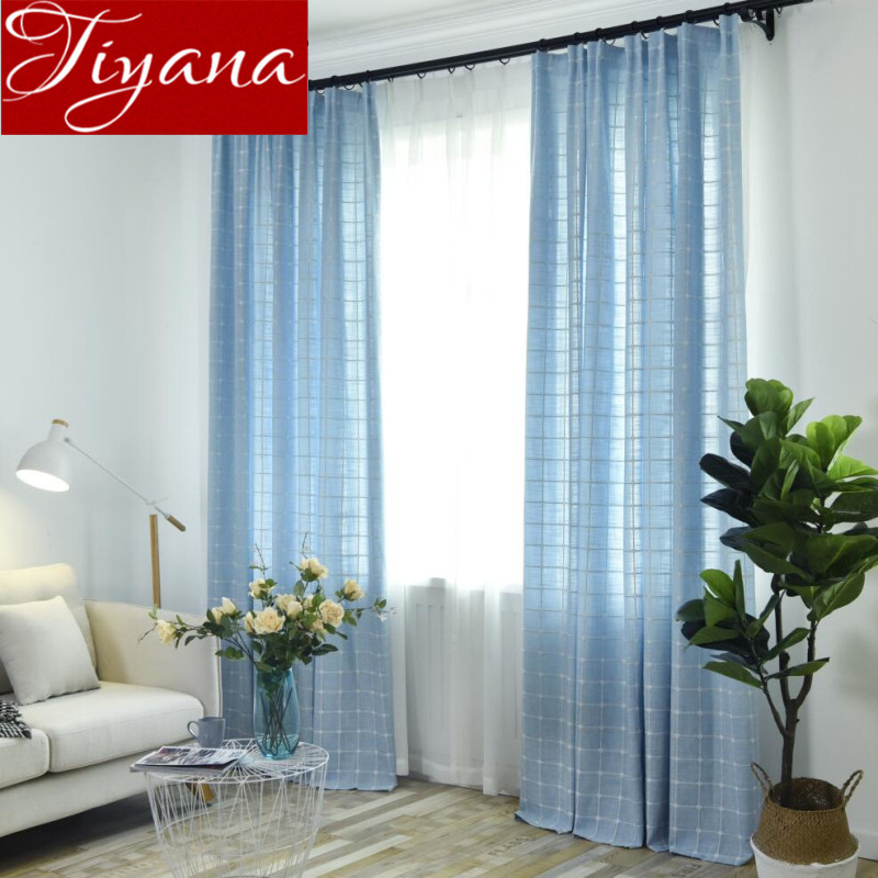 plaid curtains blue solid color window modern living room bedroom curtains gray drapes shade. Black Bedroom Furniture Sets. Home Design Ideas