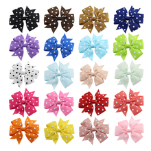 20Pcs/lot 3'' Cute Polka Dot Grosgrain Ribbon Boutique Bows hair Clips With Girls hairpins Hair Ornament for Kids 112 купить недорого в Москве