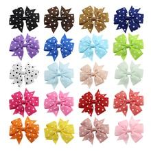 20Pcs/lot 3 Cute Polka Dot Grosgrain Ribbon Boutique Bows hair Clips With Girls hairpins Hair Ornament for Kids 112