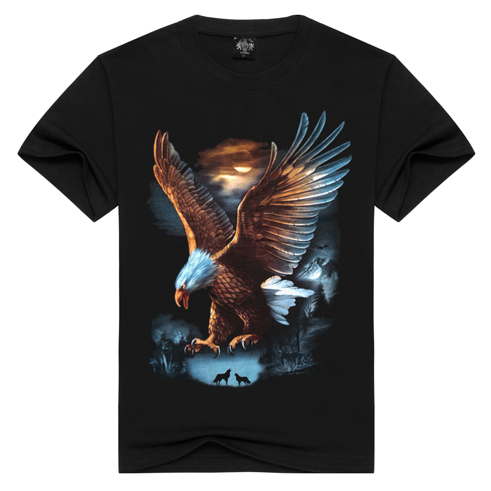 2018 Summer Casual Style Creative Novelty Eagle Print 3D Animal T Shirt For Men High Quality T-shirt Cool Short Sleeve Tops Men