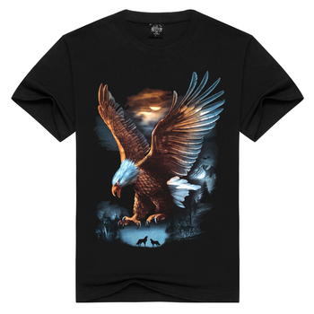 2018 Summer Casual Style Creative Novelty Eagle Print 3D Animal T Shirt for Men High Quality T-shirt Cool short sleeve tops men - discount item  39% OFF Tops & Tees