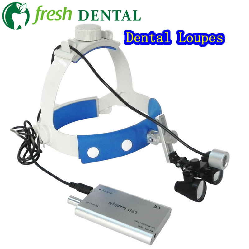 Teeth Whitening Initiative Wearable Dental Loupes 2.5x 3.5x Optical Glass Magnifying Glass With Led Head Light Dentistry Surgical Ent Medical Branch Sl704