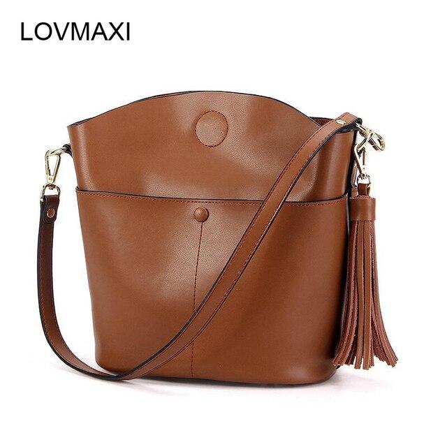 LOVMAXI New Arrival Genuine Leather Women Tassel Bags 2017 Ladies Handbag Shell Cross Body Bag Shoulder Tote Fashion