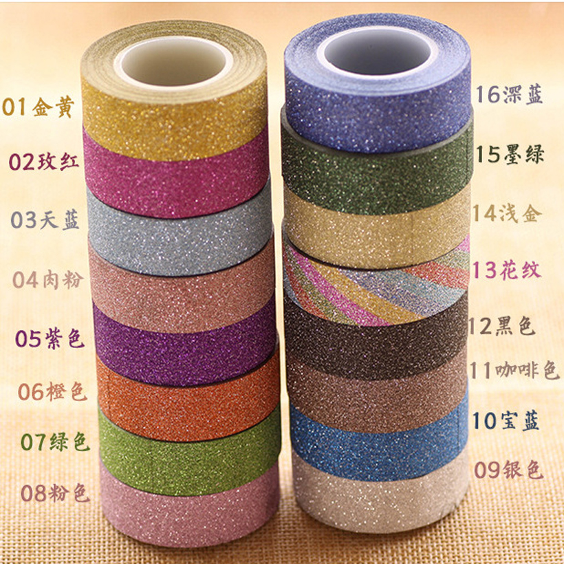 Hot Sale New Arrival Adhesive Silver Golden Glitter Washi Tape Scrapbooking Christmas Party Kawaii Cute Decorative Paper Crafts