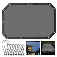 MICTUNING Durable Polyester Mesh Sun Shade Black Top Cover UV Sun Protection for Jeep Wrangler 2 Door/4 Door JK/JKU 2007 2017