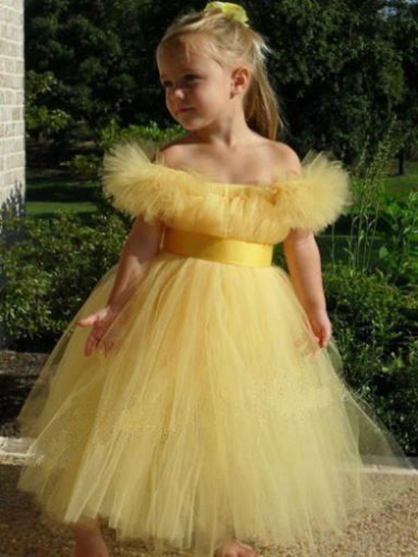 2017 New Arrival Ruffles Shoulderless Flower Girl Dress with Satin Sash Open Back Tulle Ball Gown for Birthday Party 0-12 Year 4pcs new for ball uff bes m18mg noc80b s04g