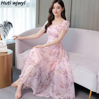 2019 Vintage Pink Floral Chiffon Beach Midi Dresses Summer 3XL Plus Size Print Boho Maxi Sundress Women Elegant Bodycon Vestidos