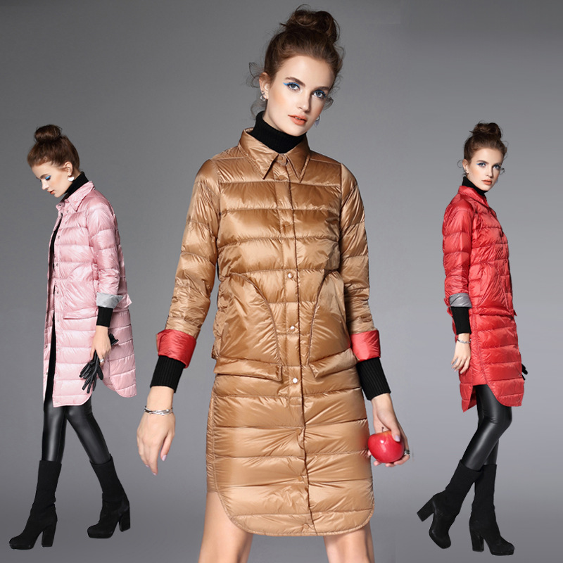 2016 New Arrival Autumn Winter Women Hit Color Casual 90% White Duck Down Coat Ultra Light Warm Parka Jacket Coat Luxury Outwear