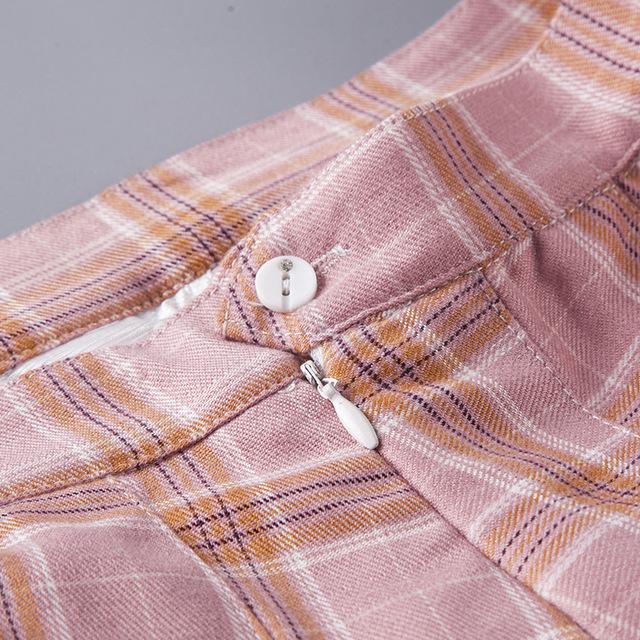 Women Pleat Skirt Harajuku Preppy Style Plaid Skirts Mini
