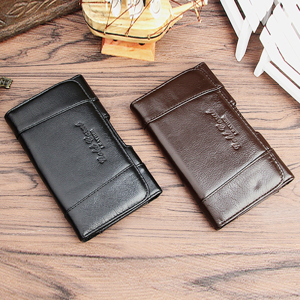 High Quality Men Genuine Leather Cell/Mobile Phone Case Cover Skin Purse Natural Skin Casual Belt Pack Hip Bum Waist Fanny Bag
