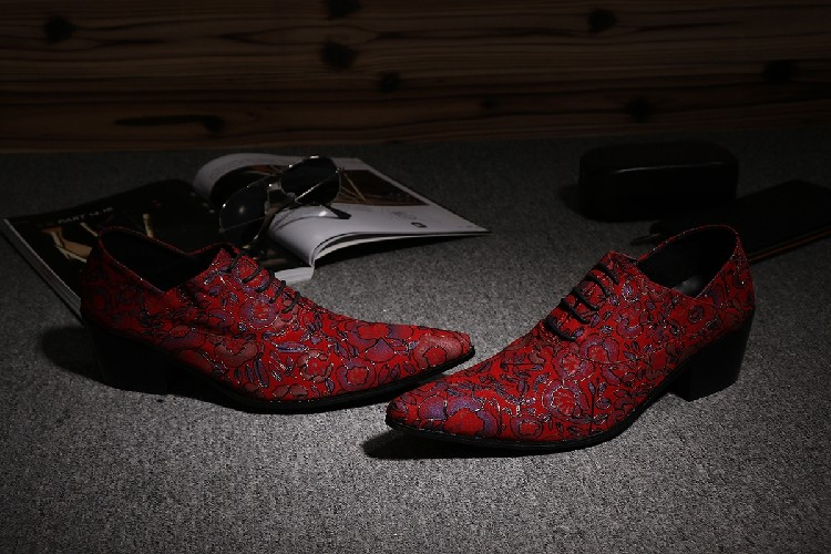 CH. KWOK Rode Handgemaakte Lederen Mens Designer Dress Schoenen Puntschoen Mannen Lace Up Oxford Hakken Schoenen Florals Wedding formele Oxfords - 3