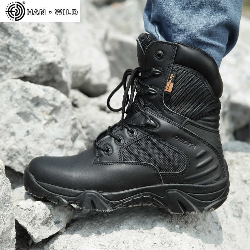 Mannen Werkschoenen Echt Leer Waterdicht Lace Up Tactical Boot Mode Motorfiets Mannen Combat Ankle Militaire Leger Laarzen
