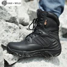 أحذية عمل رجالية جلد طبيعي مقاوم للماء الدانتيل يصل التمهيد التكتيكية موضة دراجة نارية الرجال القتالية الكاحل أحذية جيش عسكري