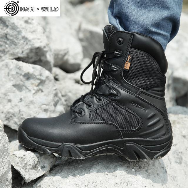 גברים של נעלי עבודת עור אמיתי עמיד למים תחרה עד טקטי אתחול אופנה אופנוע גברים Combat קרסול צבאי צבא מגפיים