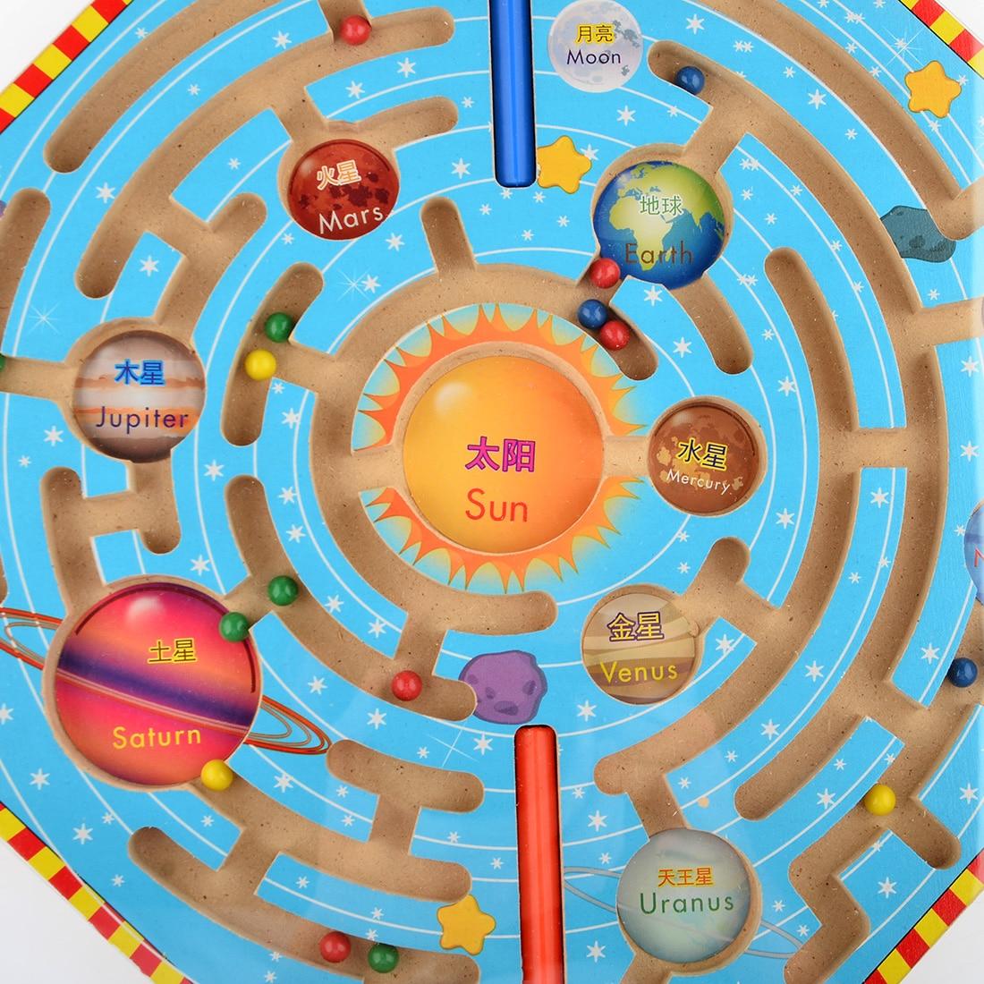 UTOYSLAND magneter pussel labyrint barn träleksaker nio planeter - Spel och pussel - Foto 4