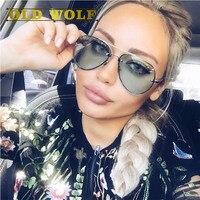 Old wolf пилот солнцезащитные очки 2017 солнечные очки женщин люксовый бренд дизайнер зеленый Прозрачные Линзы женщин солнцезащитные очки UV 400 л...