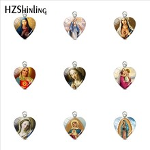 2019 New Fashion Virgin Mary Heart Pendants Our Lady of Guadalupe Jewelry Glass Art Picture Stainless Steel Charm for Christians(China)