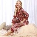 Womens Faux seda Pijamas Primavera Verano Mujer de Encaje Bordado de Raso Pijamas Loungewear ropa de Dormir