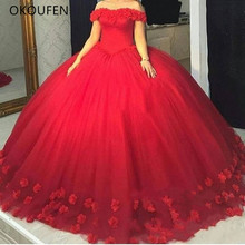 Quinceanera Dresses 2019 Red Ball Gown 3D Flowers Puffy vestido de 15 anos debutante Sweet 16 Tulle