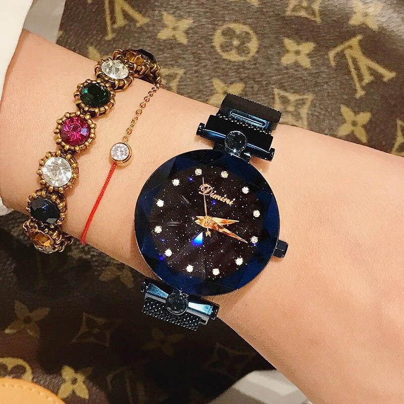 Woman Lady Wrist Watches Luxury Brand Crystal Starry sky Fashion Women Clock Female Quartz Ladies Magnet Watch Relogio Feminino đồng hồ gucci dây nam châm